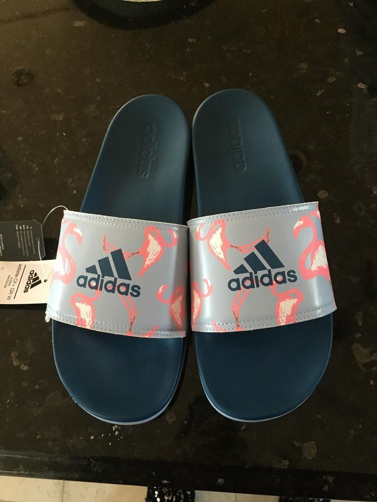 229425d7eb6c8 Women s adidas adilette Print Slide Sandals Blue Flamingo Size 10~NEW   adidas  SportSandals