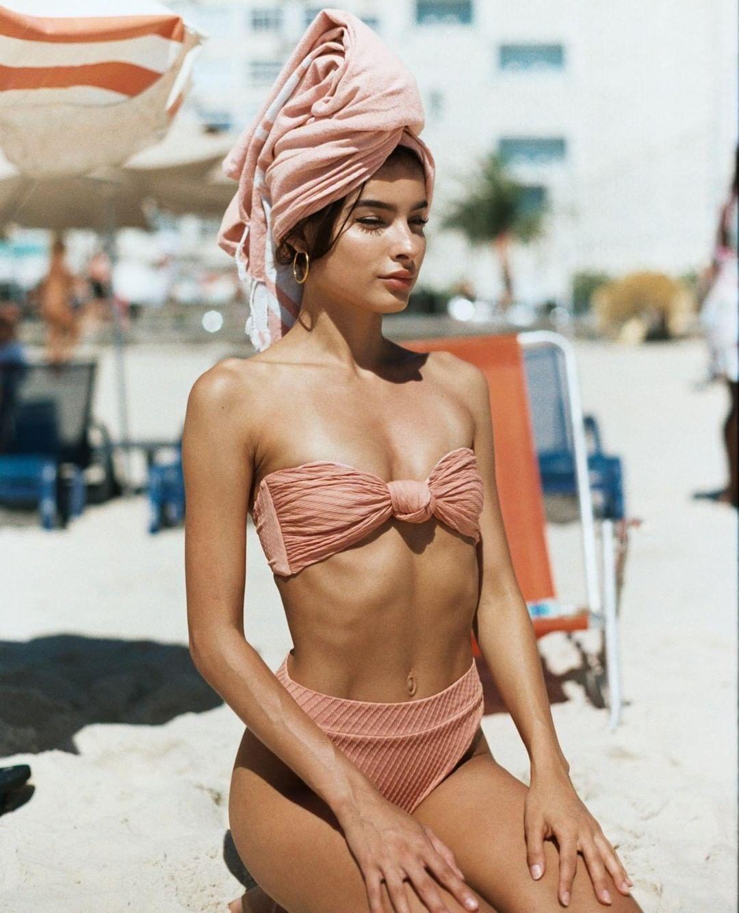 "f032b0da8c4f5 F E L L A on Instagram: ""⛱⛱⛱ @camiromer wears the Hunter top + Hubert  bottoms in dusty pink • photographed by @jcseelenmeyer   #fellaswim # bikini ..."