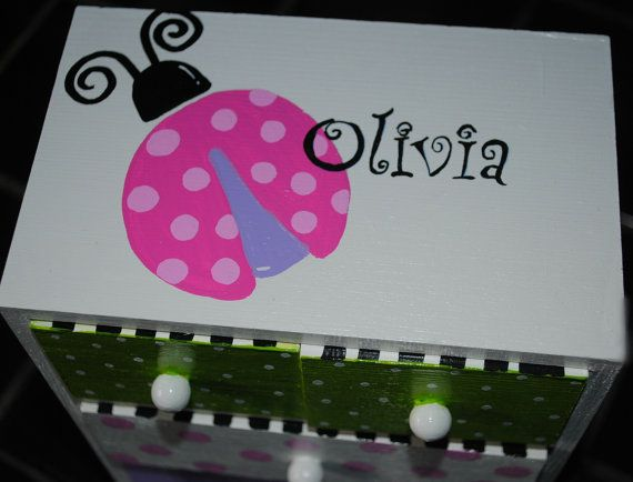 Painted Jewelry Box Personalized Gift Flower Girl Gift Jewelry