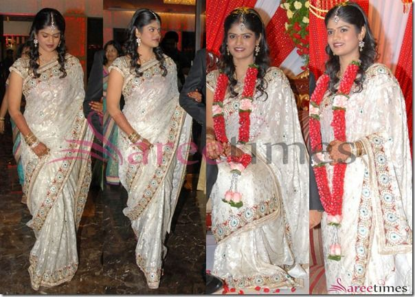 South Indian Actor Uday Kiran S Wife Visheeta In A Beautifully Embellished Saree With Patch Work Border