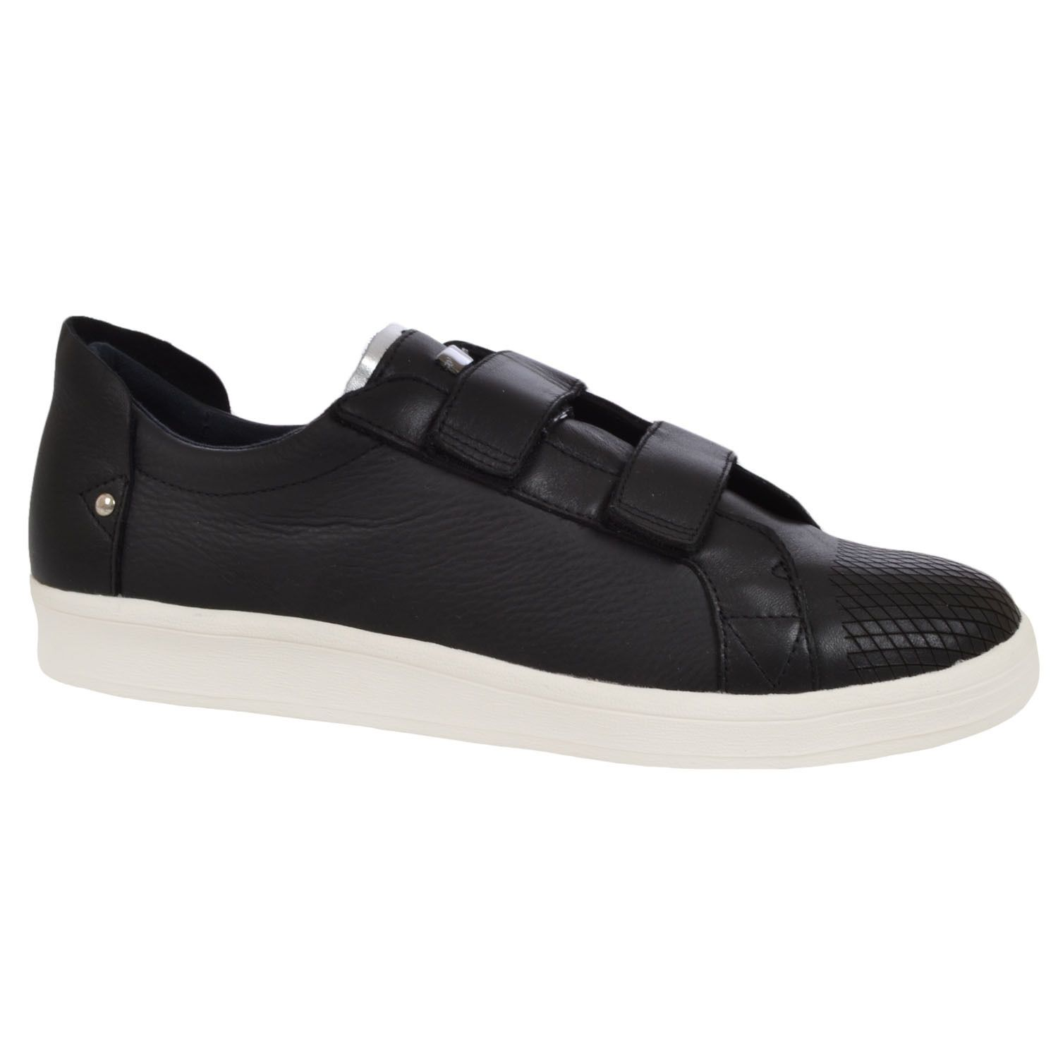 adidas SLVR Mens Leather Cupsole Velcro Trainers - Black