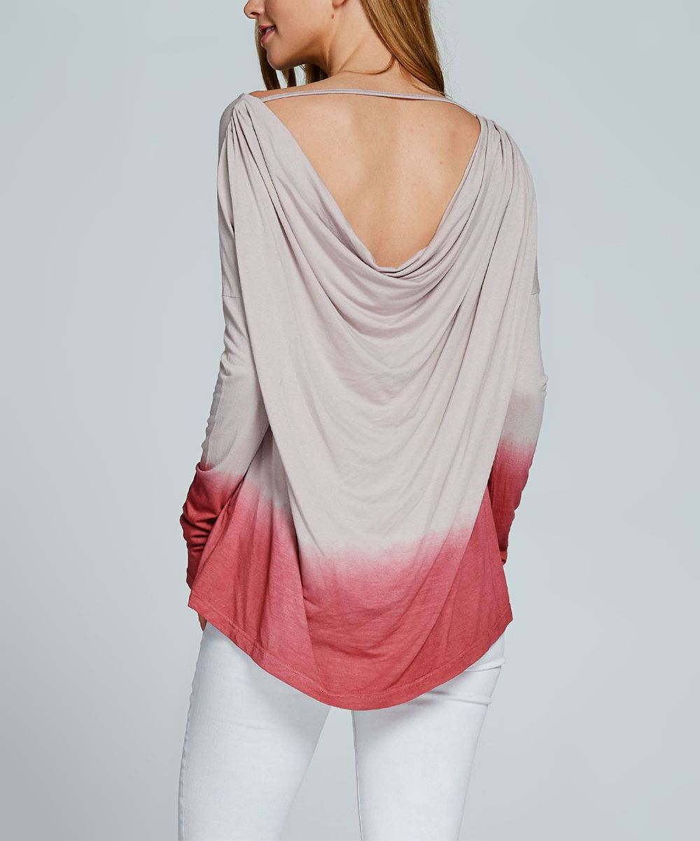 Taupe u red ombré longsleeve top products pinterest products