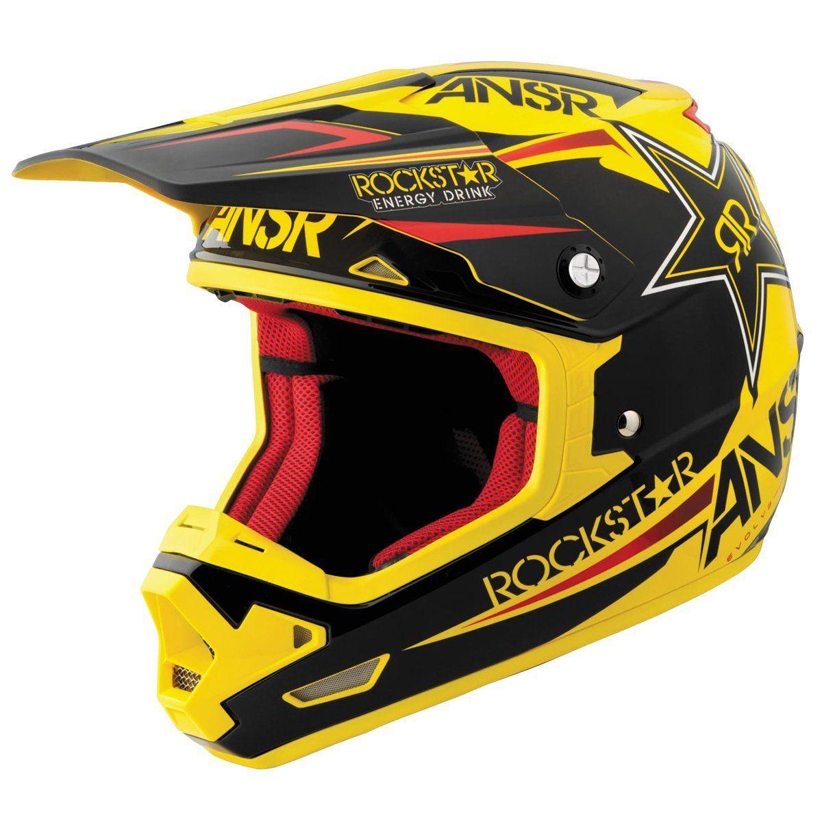 Answer Racing Evolve Rockstar Vi Black Yellow Motocross Helmet Helmet Dirt Bike Riding Gear Motocross Helmets