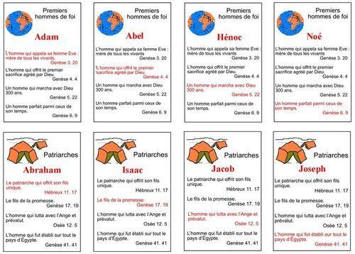 Jeu de familles sur les personnages bibliques à imprimer Biblenfant via Levangelisation.com