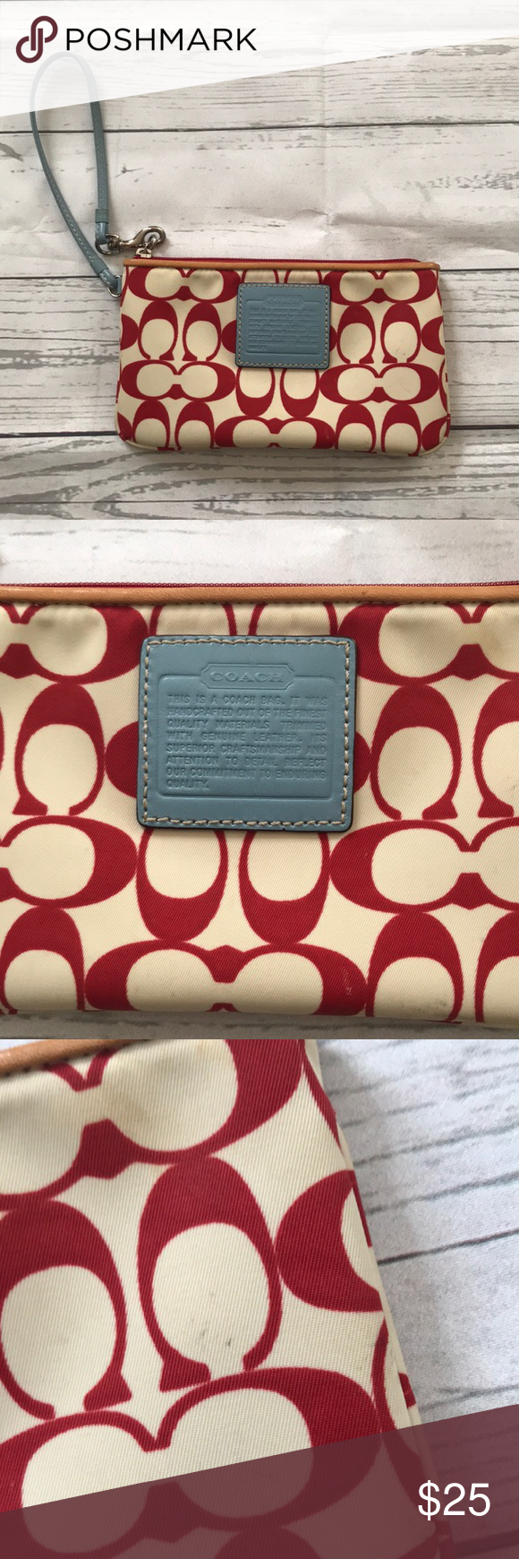 Coach Red White Blue Wristlet Has Some Marks But Still Super Cute Coach Bags Clutches Wristlets