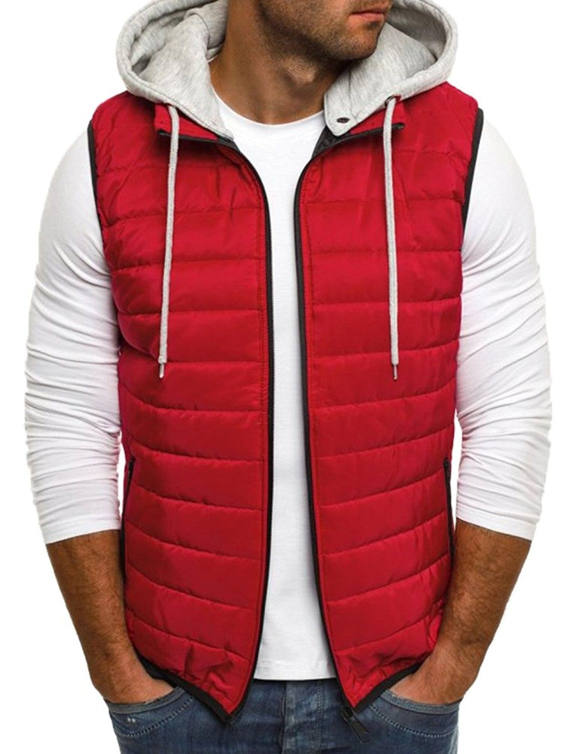 Mens Padded Bubble Puffer Quilted Hooded Jacket Coat Warm Winter Zip Up Contrast