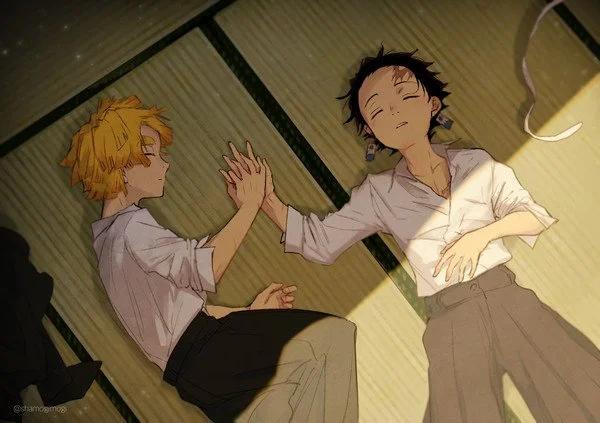 Tanjiro And Zenitsu Kimetsu No Yaiba Wholesomeyaoi Anime Demon Slayer