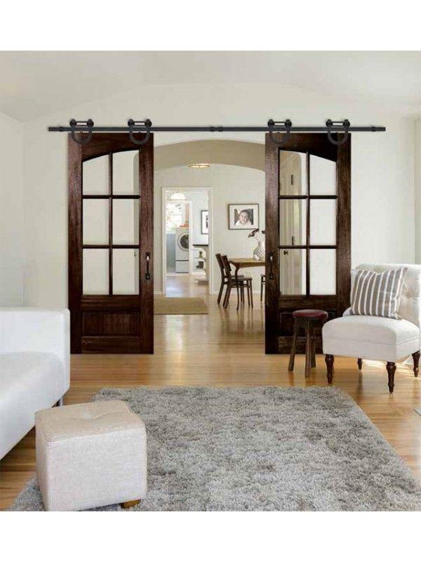 96 Mahogany Tdl 6 Lite Arch Double Door French Doors Interior