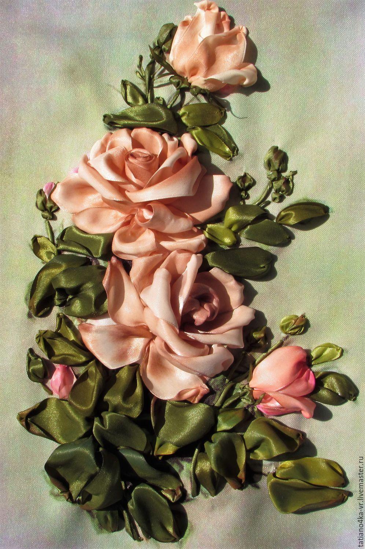 Букет роз на открытке из ленточки, про
