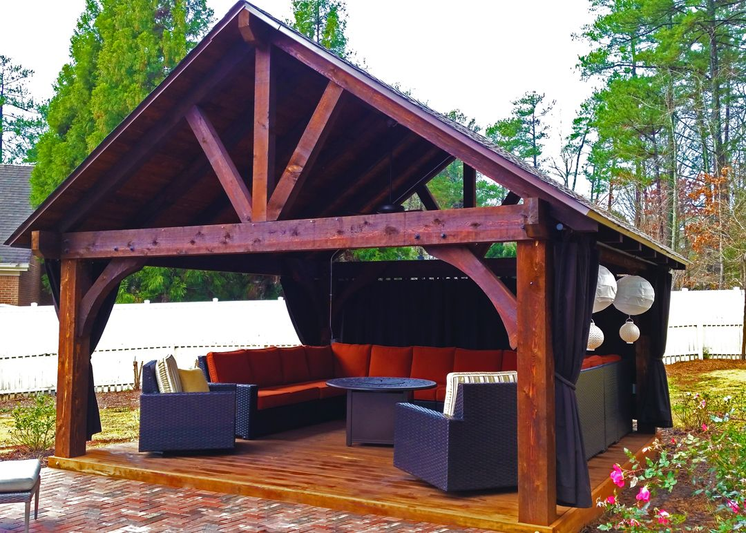 outdoor pavilion with sunbrella curtains backyard pavilion