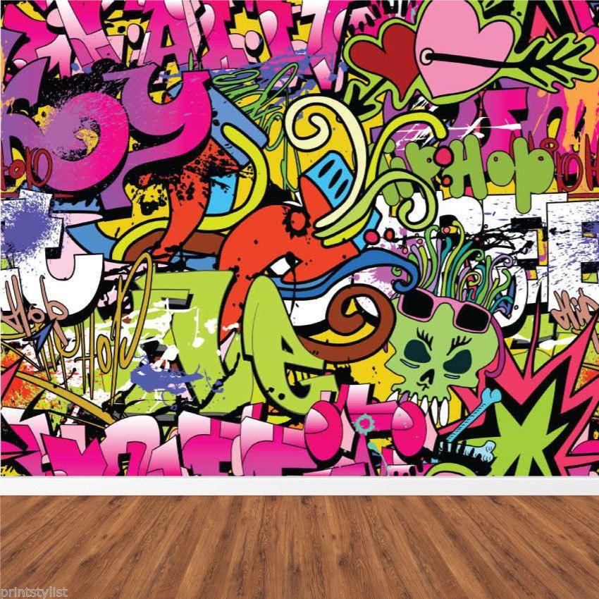 RETRO GRAFFITI HIP HOP URBAN BACKGROUND VANDAL WALL MURAL ...