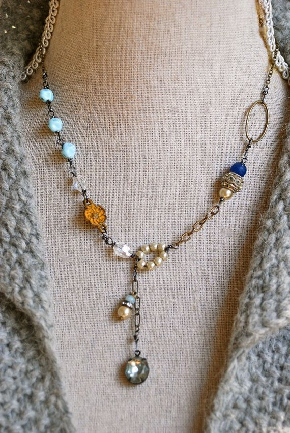 Tiedupmemories, etsy: What can I say?  I am a pushover for eclectic assembled jewelry.