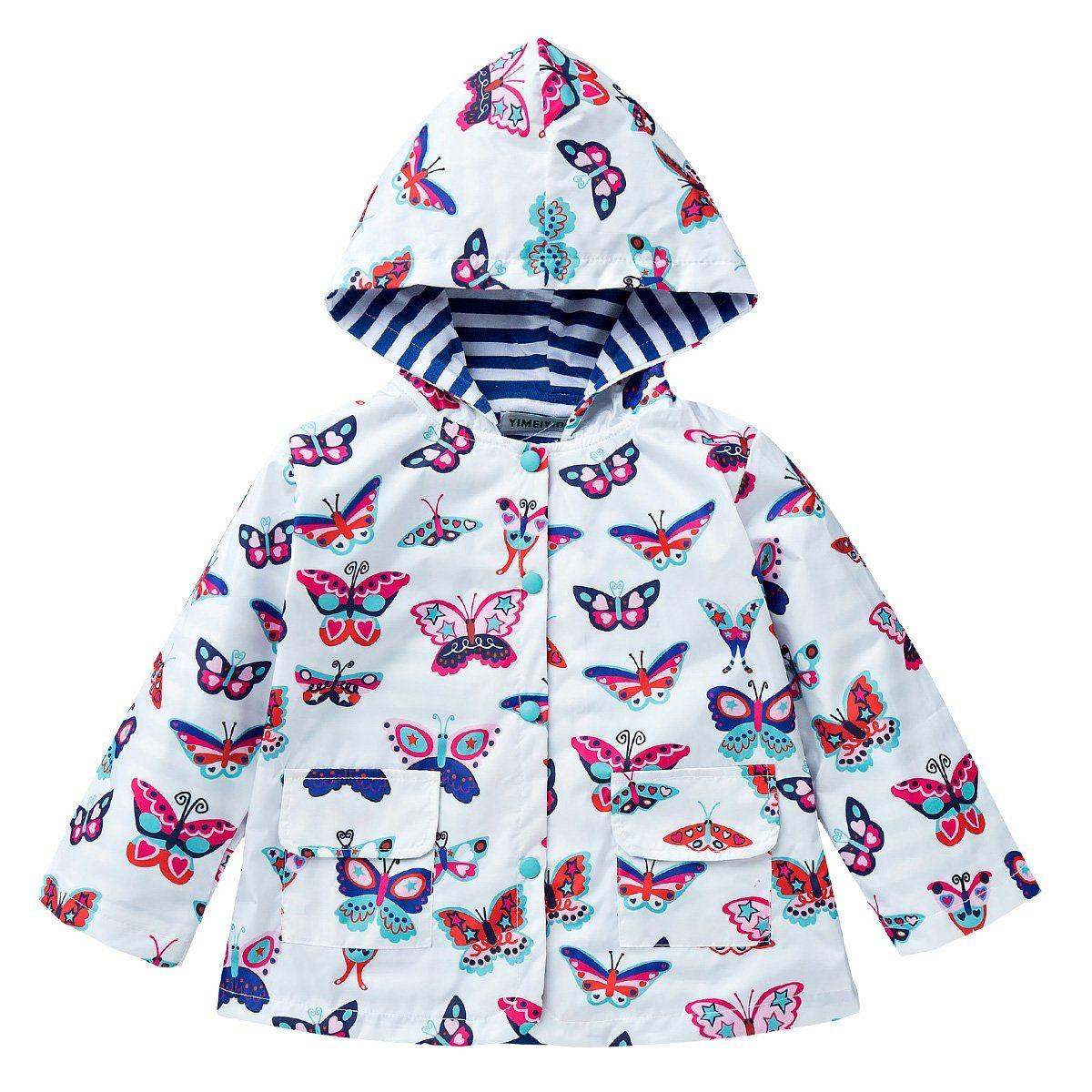 LZH Little Girls Waterproof Raincoat Floral Outwear Hooded Jacket Coat
