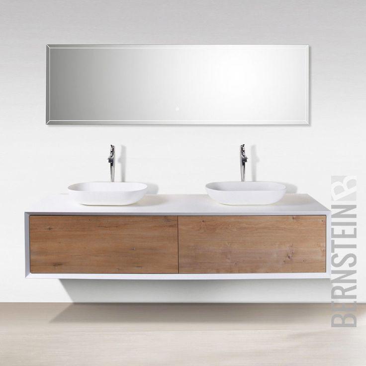 Badmobel 180 Cm Eiche Led Spiegel Aufsatzwaschbecken Unterschrank