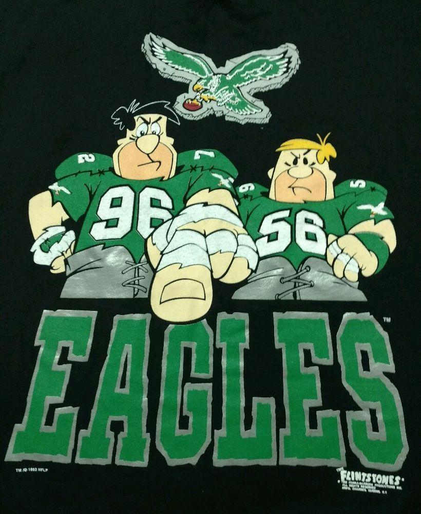 Flintstones Philadelphia Eagles Shirt XL 1993 Hanna-Barbera Fred NFL Football  | eBay