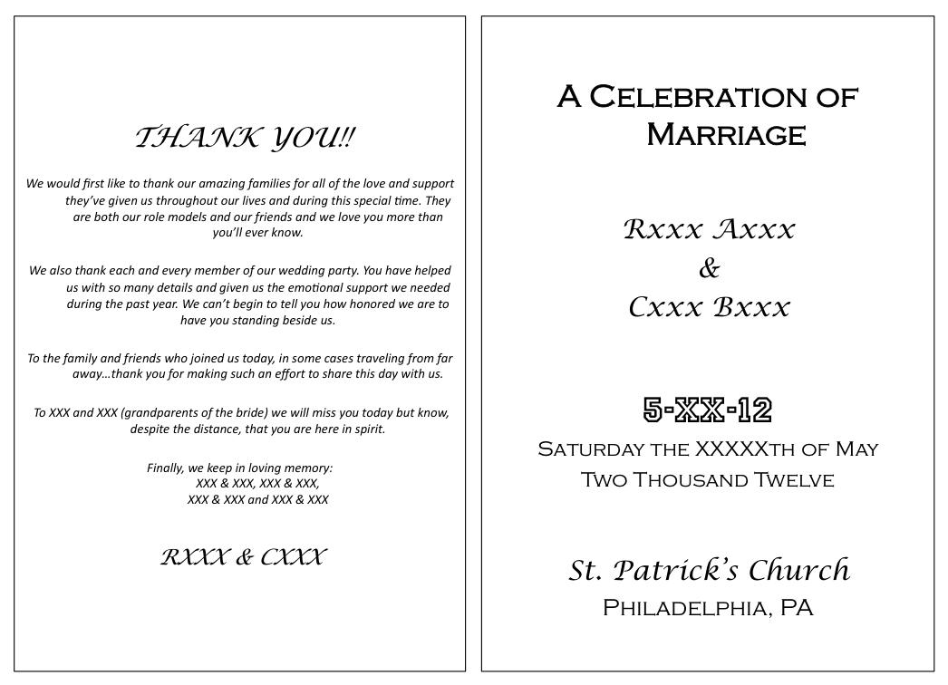 Picture05 Wedding Programs WordingCatholic