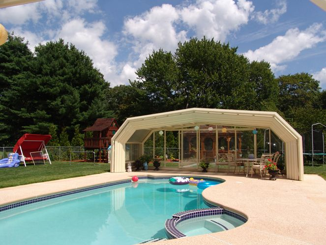 In Ground Pool With Retractable Cover | Trackless Retractable Enclosures:  Roll A Cover