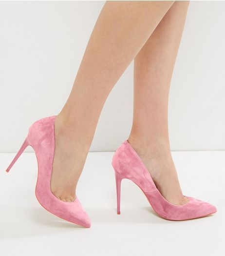 Pink Suede Pointed Court Shoes - New