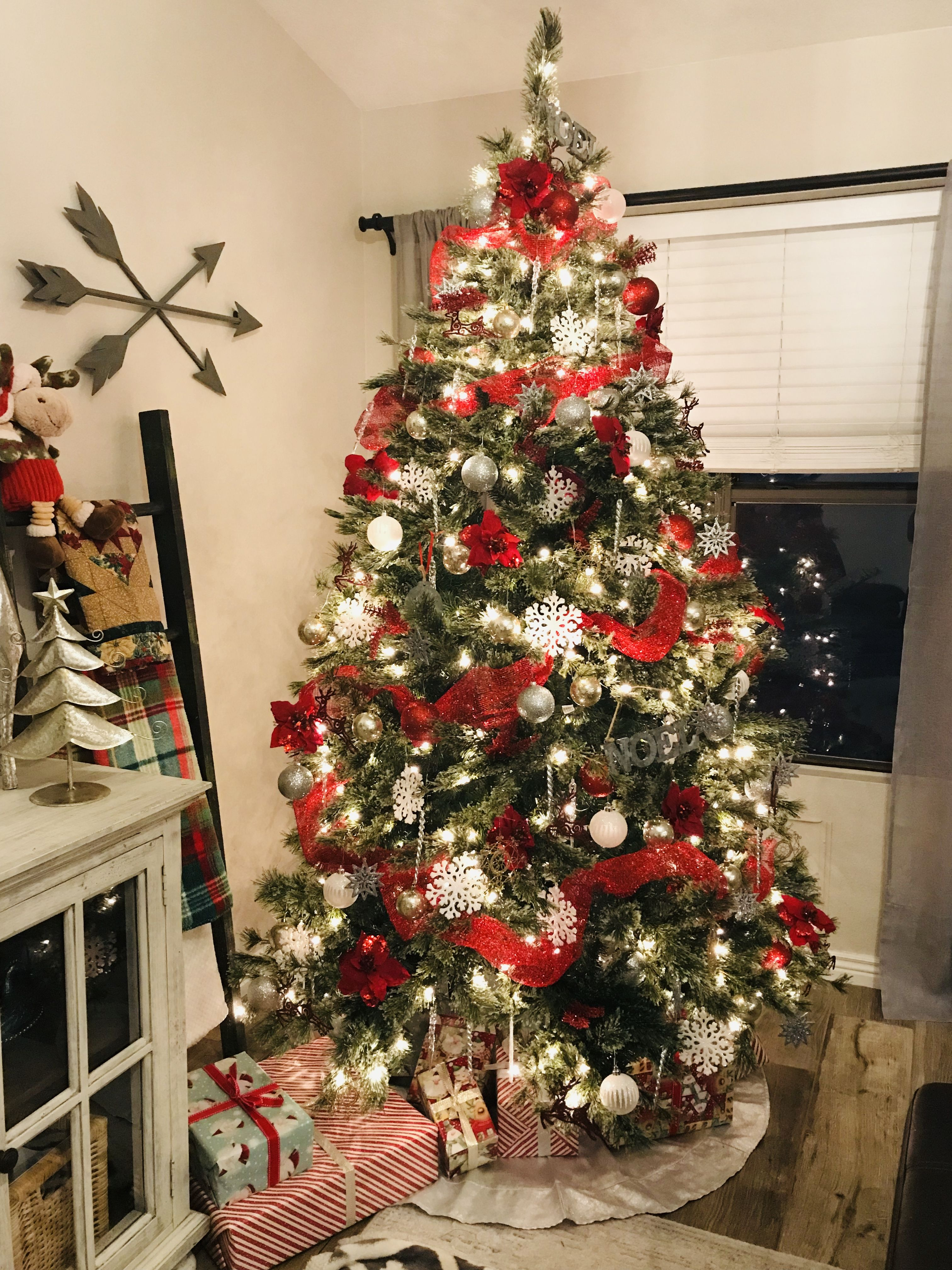 2018 Christmas Tree Christmas Tree Red And Silver Silver Christmas Tree Decorations Gold Christmas Decorations