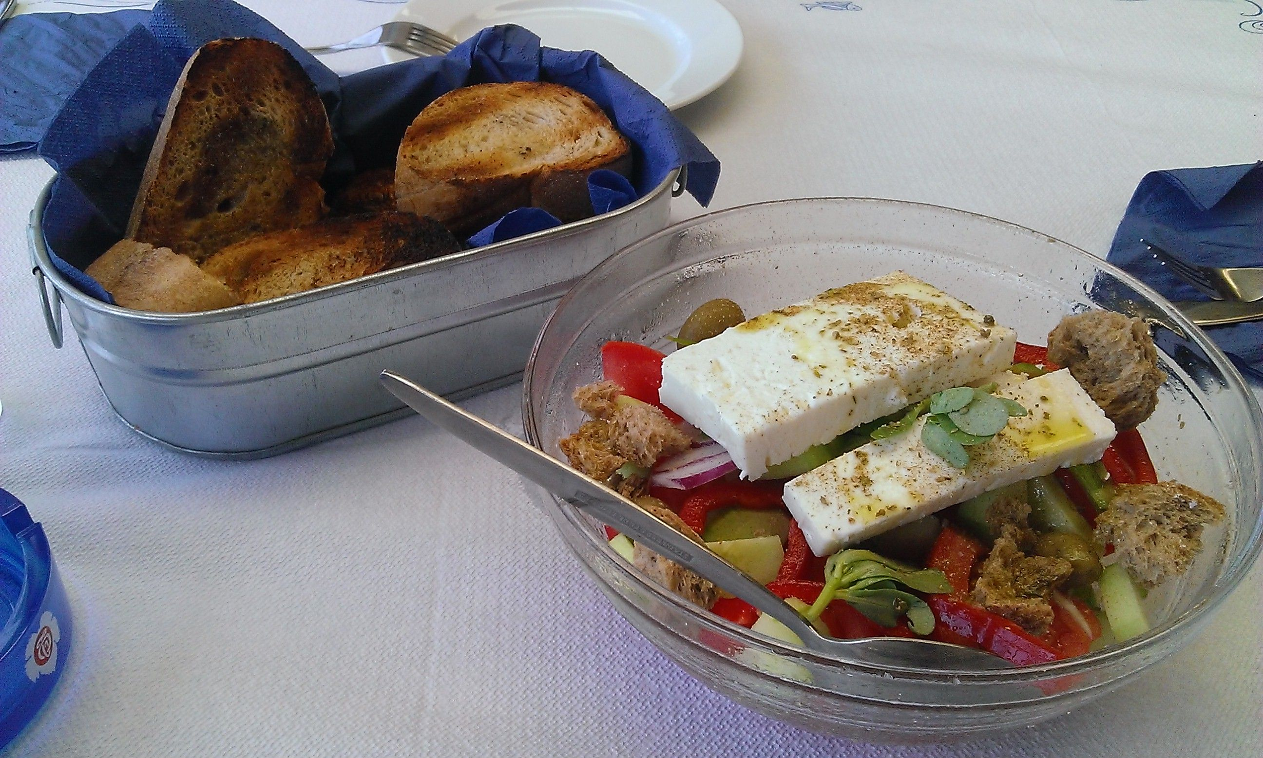 Greek salad, grilled bread with virgin olive oil and oregano