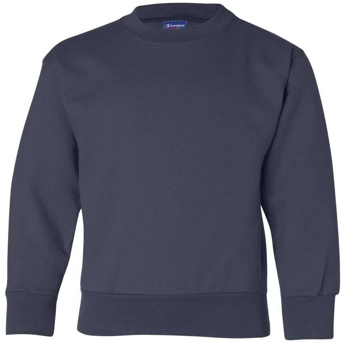 Champion Youth Navy Eco 9 Ounce Crew Custom Embroidered Shirts Personalized Sweatshirt Sweatshirts [ 1200 x 1200 Pixel ]