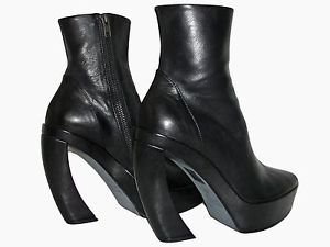 37 5 Ann Demeulemeester Black Leather Curved Talon Heel Open Toe Boots