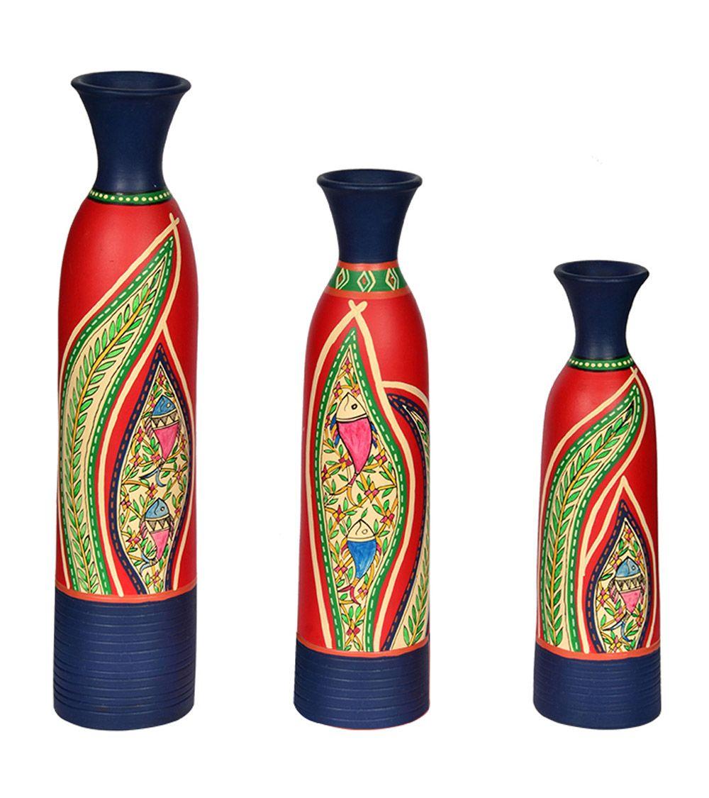 Terracotta handpainted floral vase set of 3 warli pot exclusivelane terracotta handpainted floral vase bottle shaped combo set of 3 vase by exclusivelane for beeja reviewsmspy
