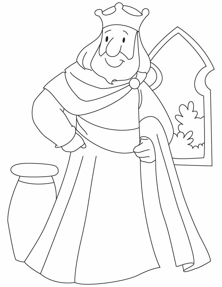 A King Standing Beside The Window Coloring Pages
