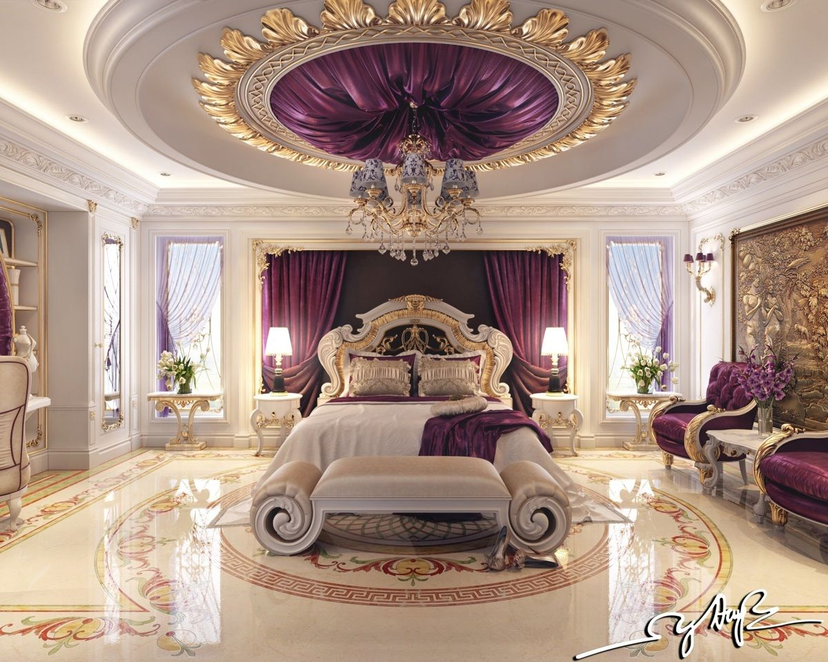 This bedroom tends toward what most people might envision when they dream of luxury rick purple Royal purple master bedroom