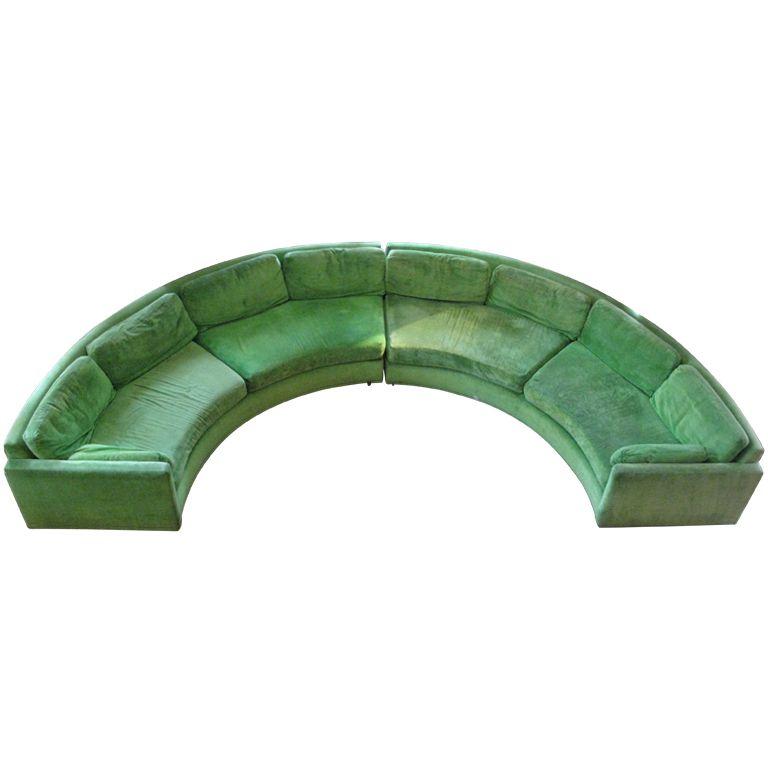 Semi Circular Curved Sectional Sofa by Milo Baughman ...