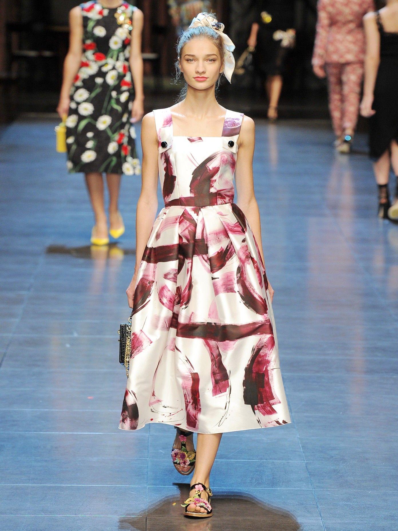 Paintprint silkmikado dress Dolce u Gabbana MATCHESFASHIONCOM