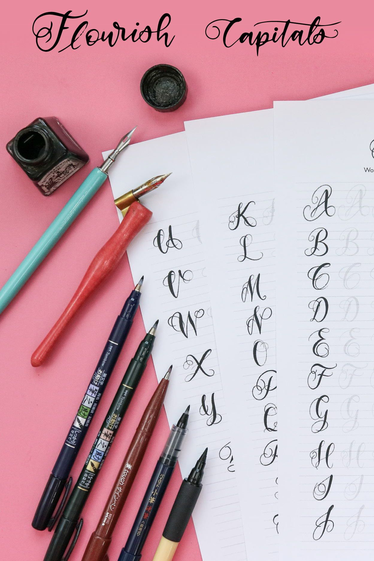 Small Flourish Capital Letters Alphabet Modern Calligraphy
