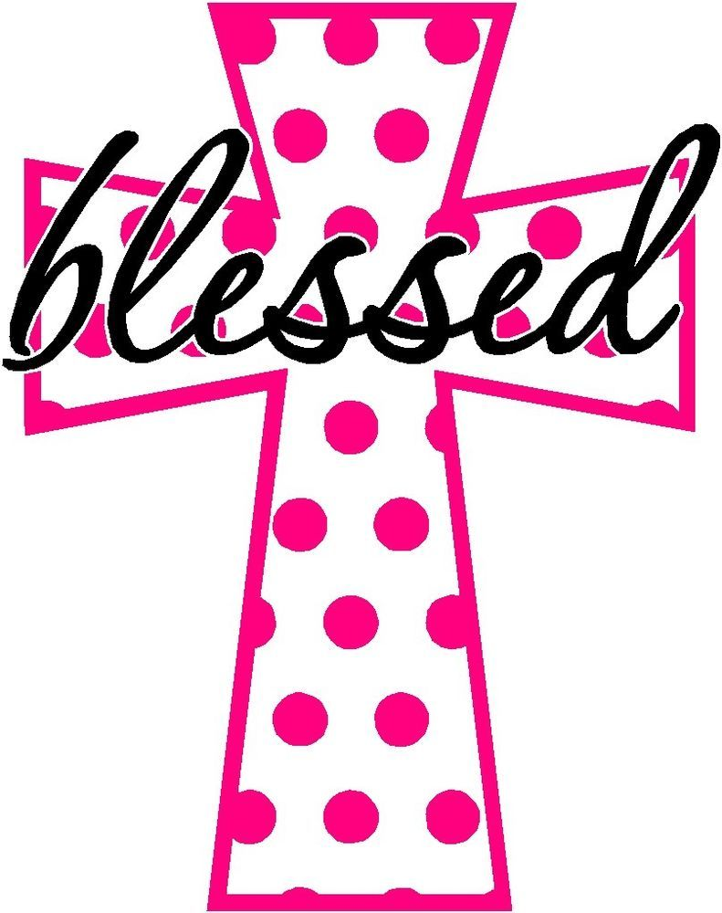 Details About Polka Dot Cross With Blessed Vinyl Decal
