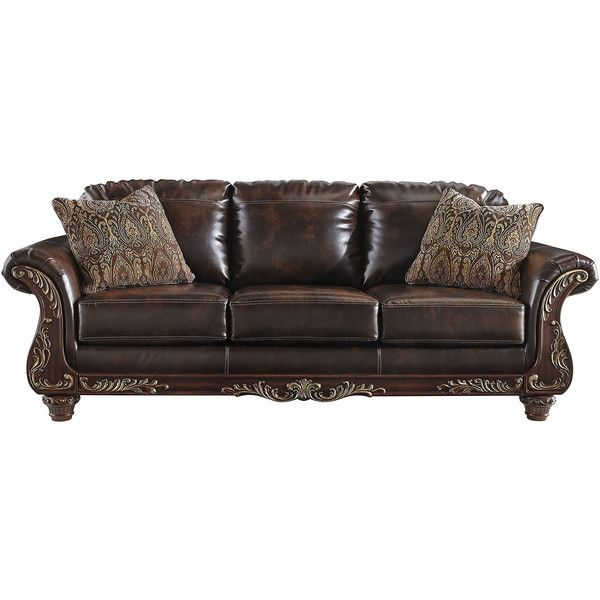 Signature Design By Ashley Vanceton Faux Leather Sofa ($1,050) ❤ Liked On  Polyvore Featuring
