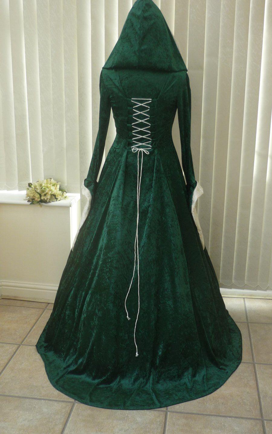 Medieval Celtic Pagan Wedding Dress Green Cream Hood