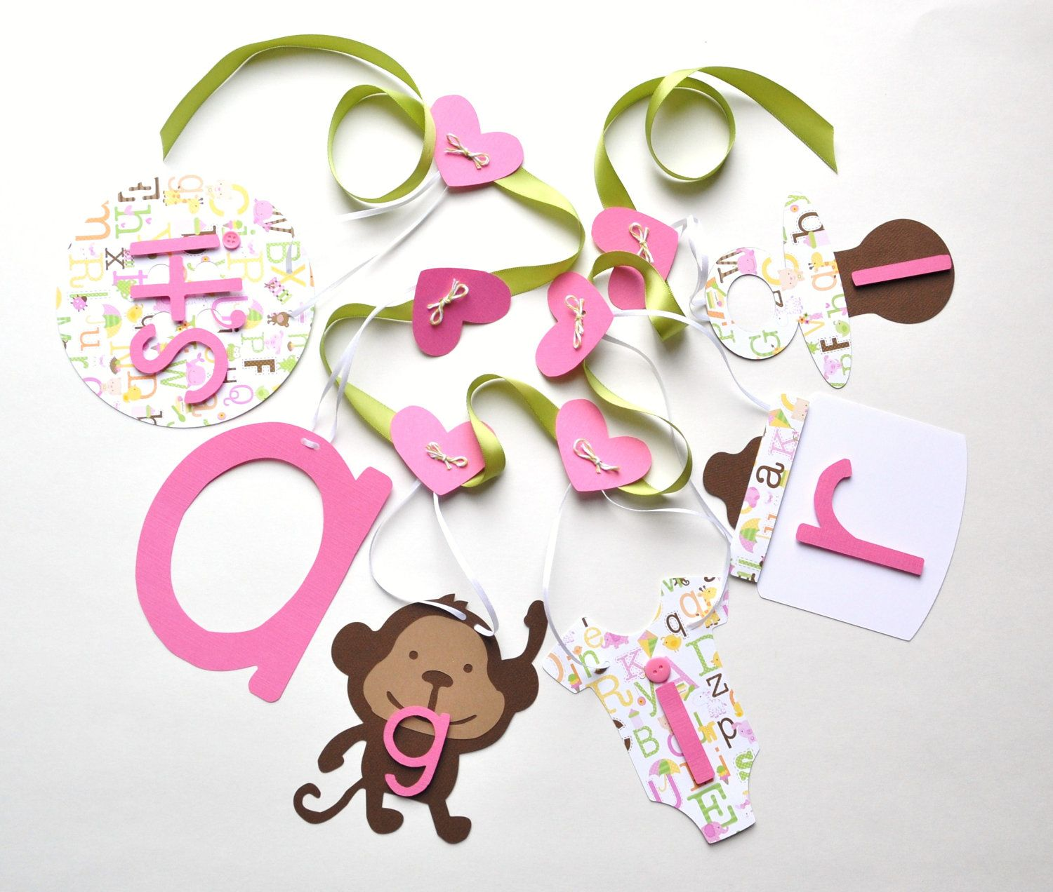 Monkey Baby Shower Decorations Itu0027s A Girl Banner In Pink And Green By  ParkersPrints On