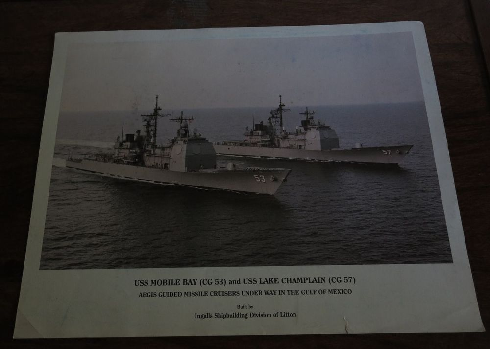 1990s USS  MOBILE BAY CG53 & USS LAKE CHAMPLAIN CG57   ORIGINAL 11 X 14 COLOR