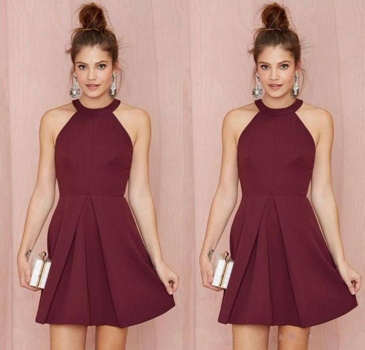 Cheap Short Bridesmaid Dresses Homecoming Dresses Burgundy Halter ...