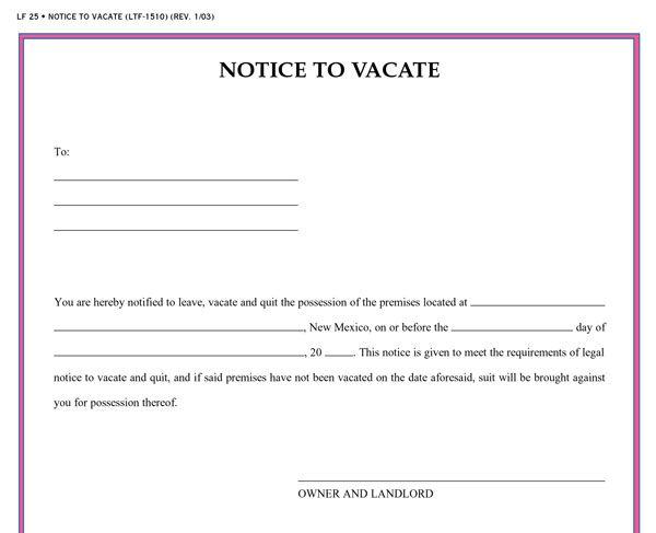 Printable sample vacate notice form laywers template forms online printable sample vacate notice form thecheapjerseys Images