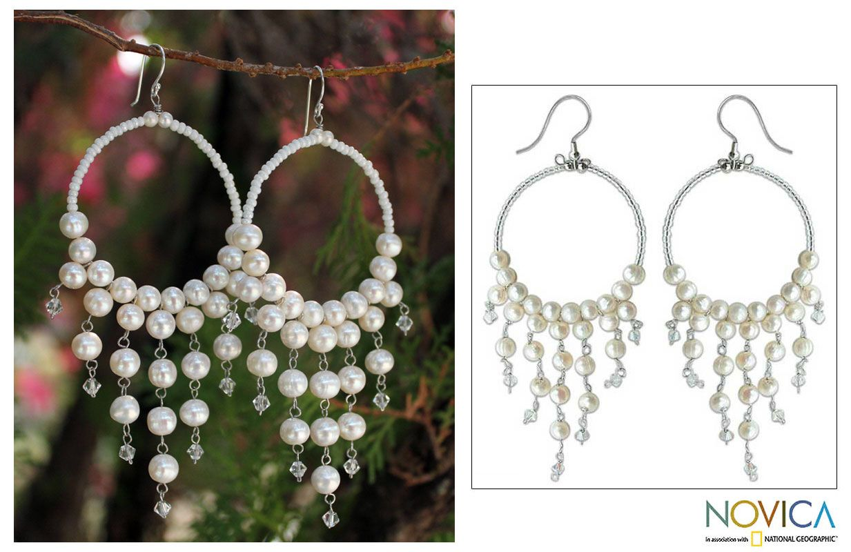 Handmade pearl chandelier earrings harmony of white pearl handmade pearl chandelier earrings harmony of white novica artist sasina arubaitofo Image collections