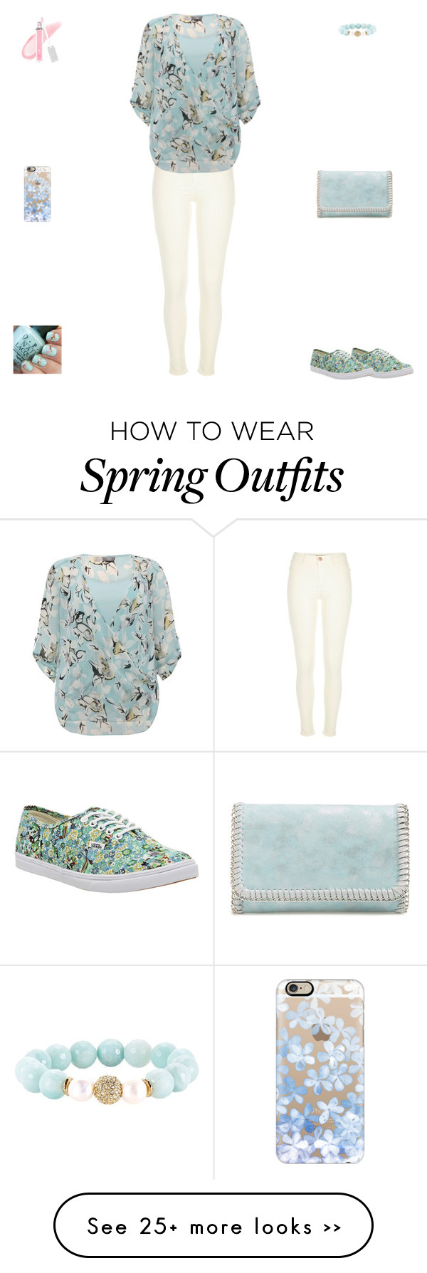 """""""Contest: White & Pastel Blue Floral Outfit"""" by billsacred on Polyvore featuring Vans, Casetify, River Island, M&Co, Chelsea28, Devoted and FusionBeauty"""