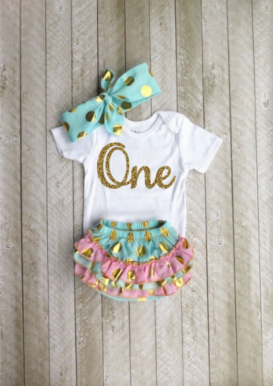 Mint And Gold First Birthday Outfit