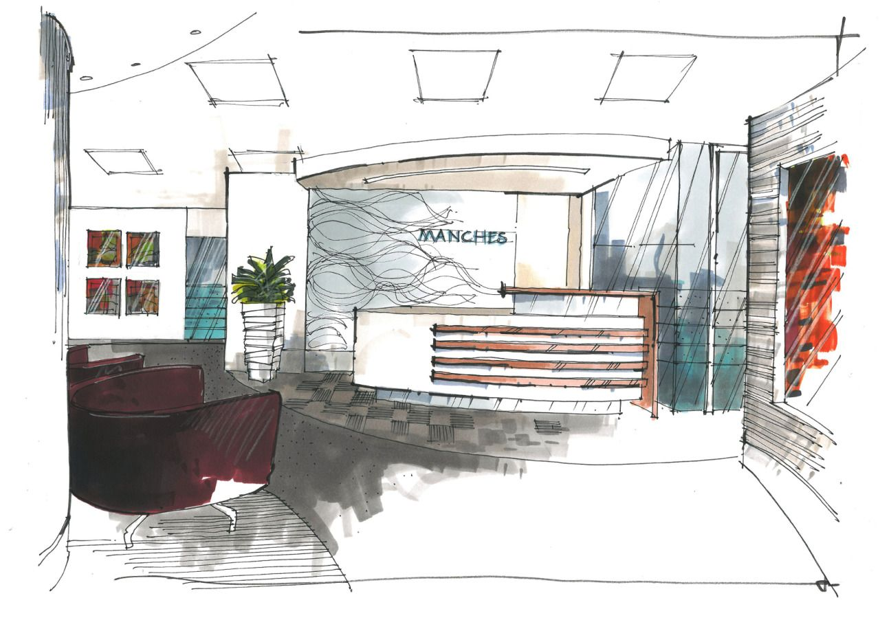 Interior Design Office Sketches office reception – two quick sketches for a london agency for an