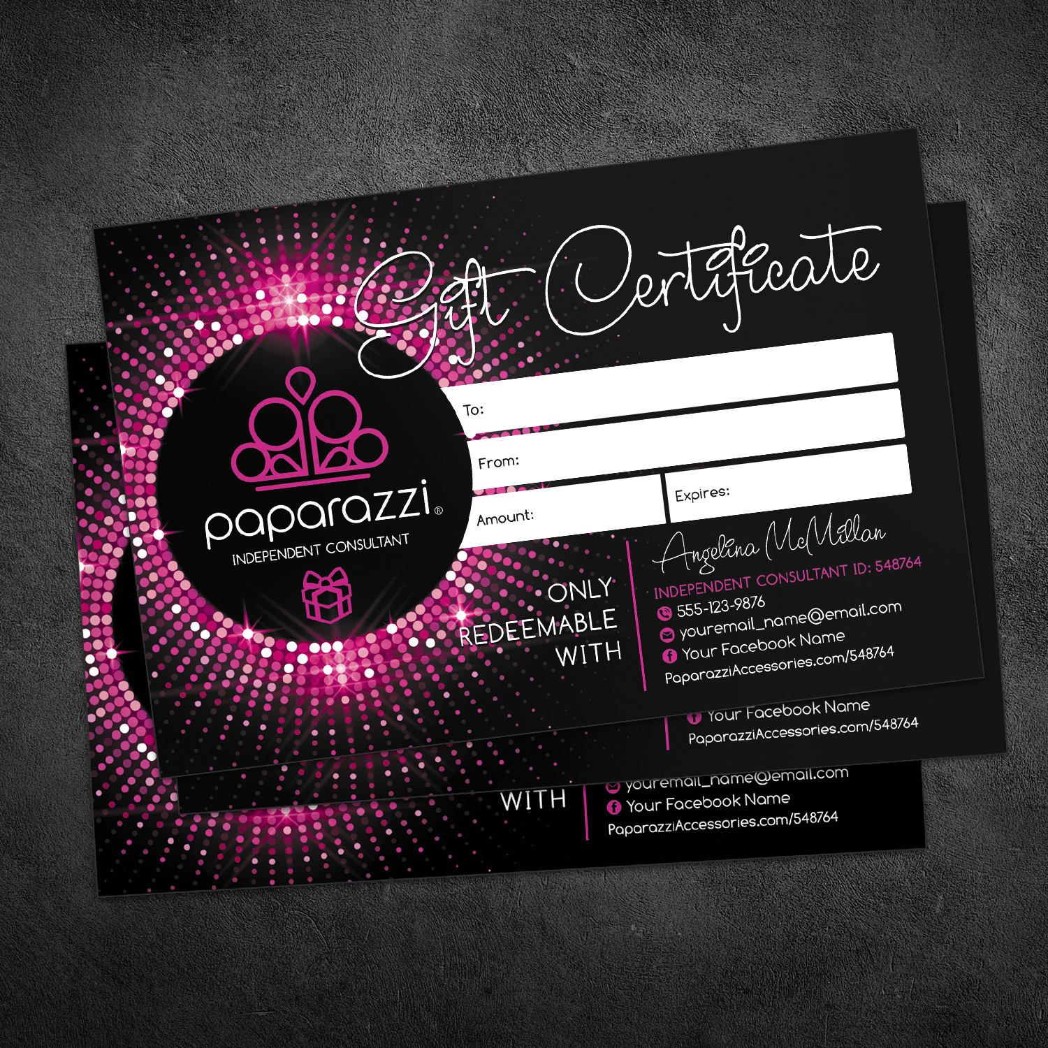 Paparazzi Gift Card Paparazzi Gift Certificate Card 4x6 Paparazzi Jewelry Accessories Pa Paparazzi Gifts Free Business Card Templates Jewelry Business Card