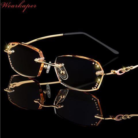 931a53f7e6f WEARKAPER Anti-fatigue Diamond-rimmed fashion women s frameless Reading  Glasses Women Metal Glasses With