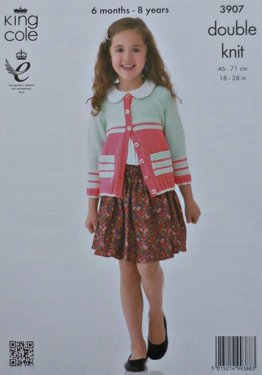 KNITTING PATTERN Childrens Long Sleeve Striped Jacket Hat /& Cardigan DK 3907