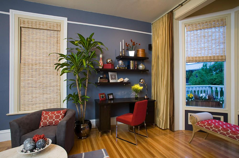 Office living room combo separating space with plant - Living room office combination ...