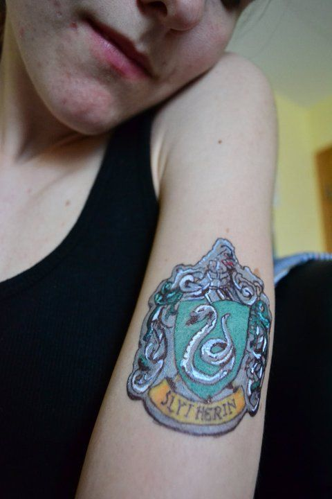 Complete Slytherin Tattoo By Lilyarianightshade Slytherin Tattoo Tattoos Slytherin