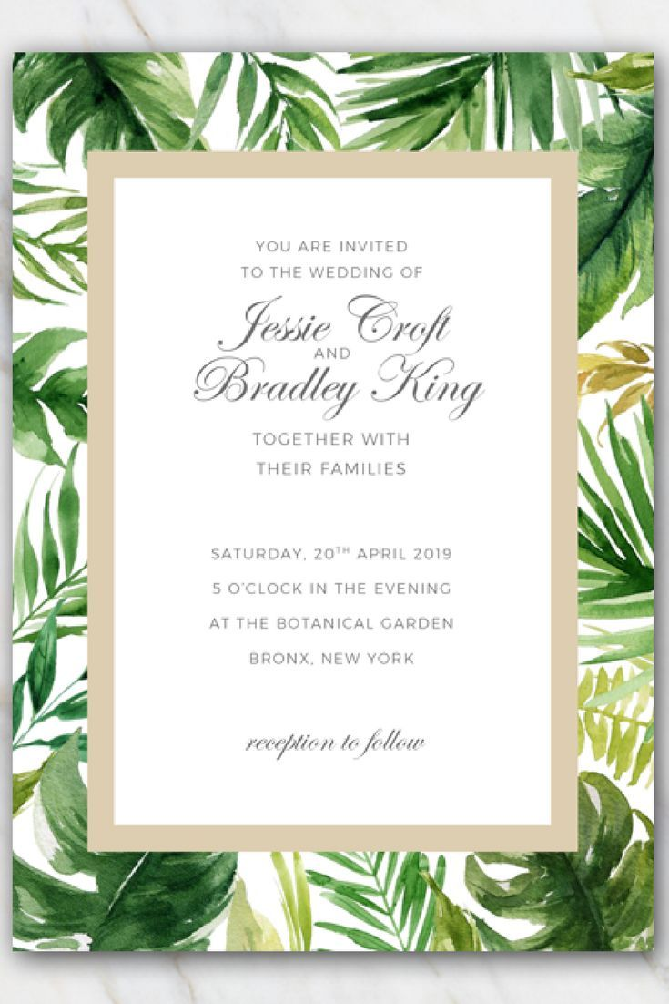 Tropical palm tree leaves wedding invitation template. Download for ...