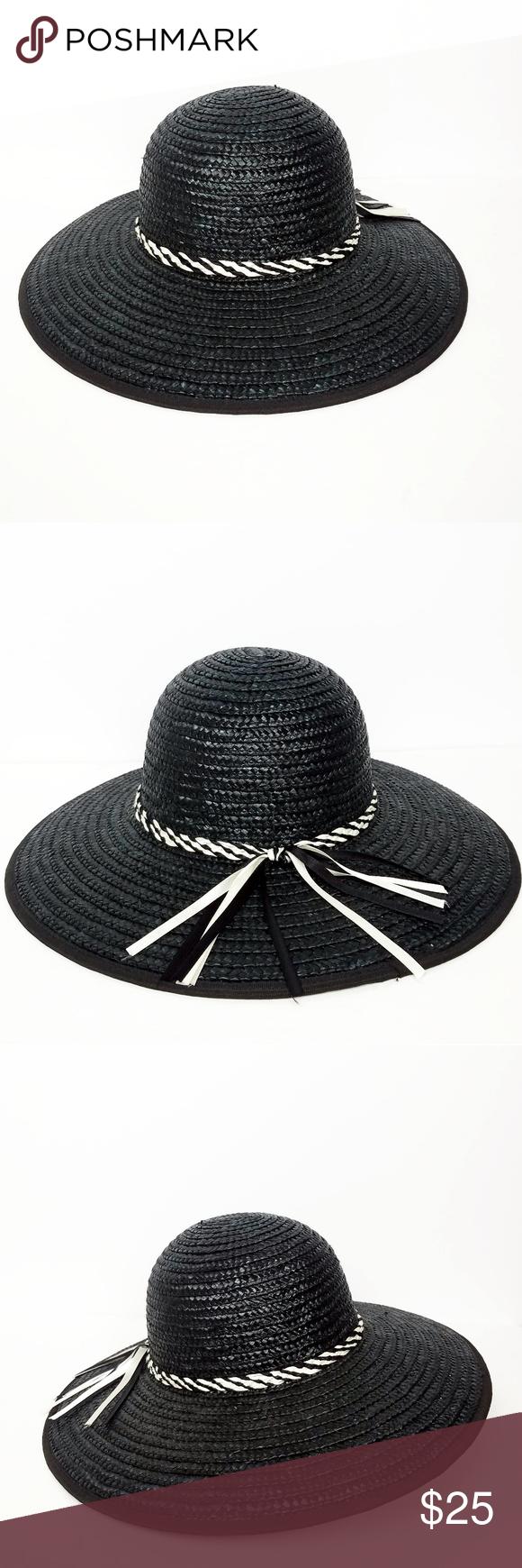 Nwot Hand Made Black And White Big Sun Hat Big Sun Hat Sun Hats Black And White